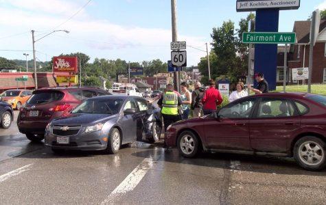 Three cars collide on Maple