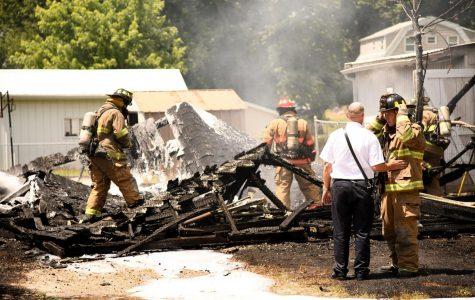 Garage fire on corner of Fess, Sevall Street