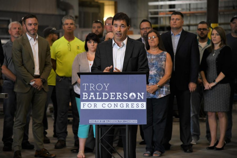 Troy+Balderson+appeared+in+Zanesville+before+the+election+to+garner+more+support.