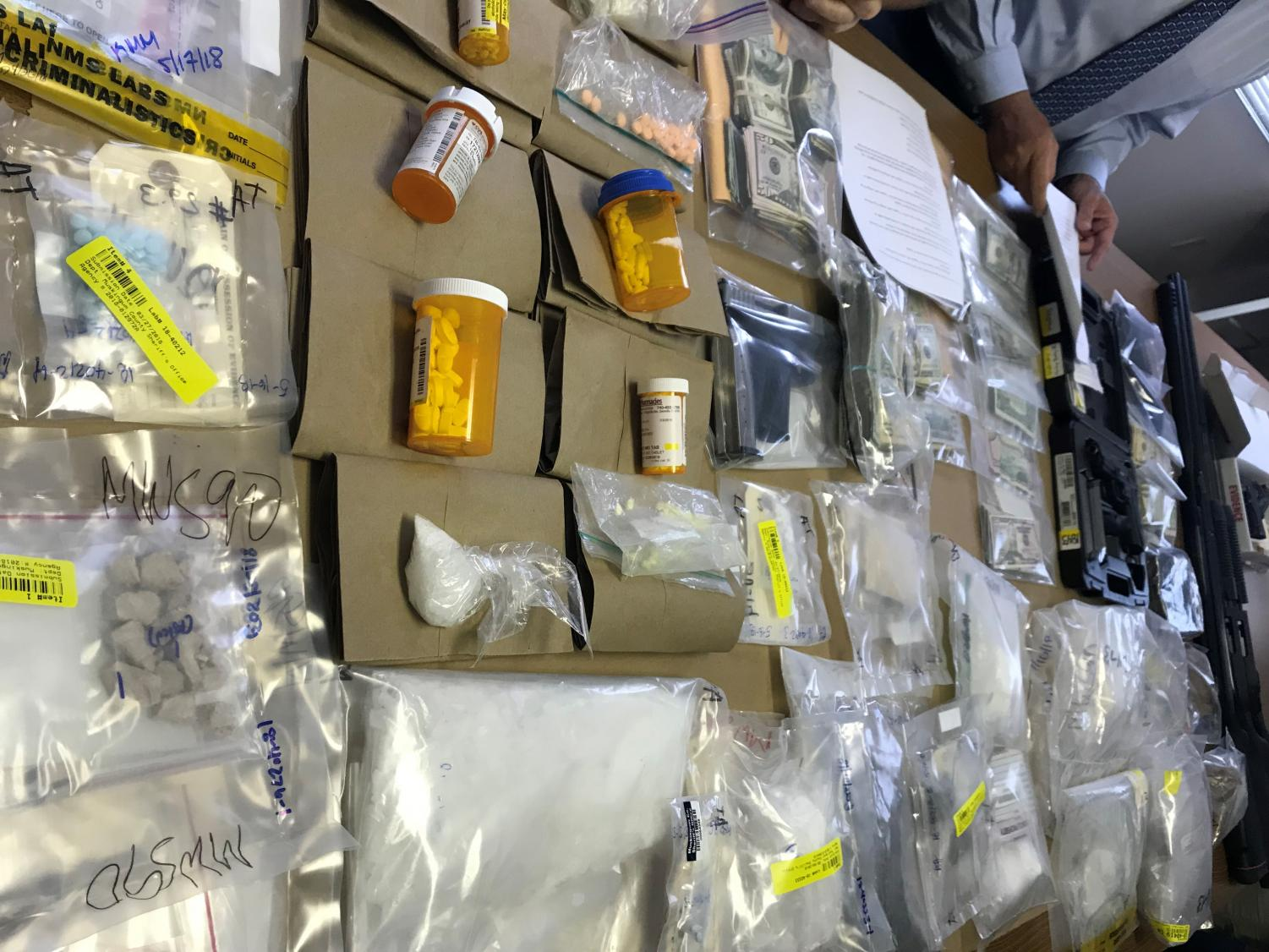 The County and City Joint Drug Unit held a press conference Wednesday morning to present the evidence seized during the raids Tuesday.