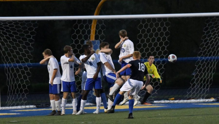 Cole Thomas of Maysville attempts a free kick in the Panthers 3-0 win Tuesday night.