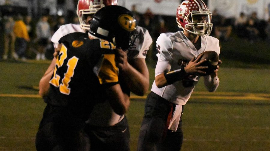 Blake Kendricks (No. 21) had a sack and an interception Friday night, playing an integral part in Tri-Valley's win.