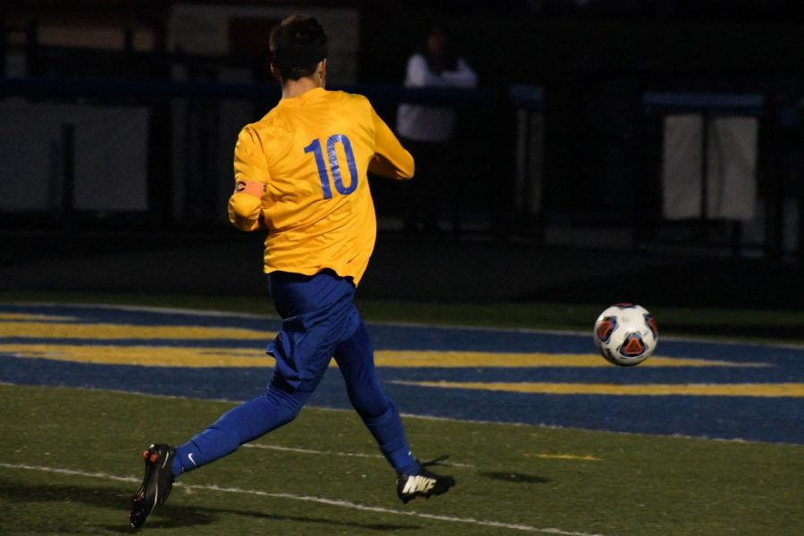 Maysville's Jared Stephenson shoots the ball in the second half of a sectional game against Indian Creek. The Panthers won, 4-1.