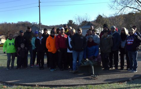 Participants in the fourth annual March 4 Vets events poses for a photo outside of the Zanesville VFW before taking to the trail.