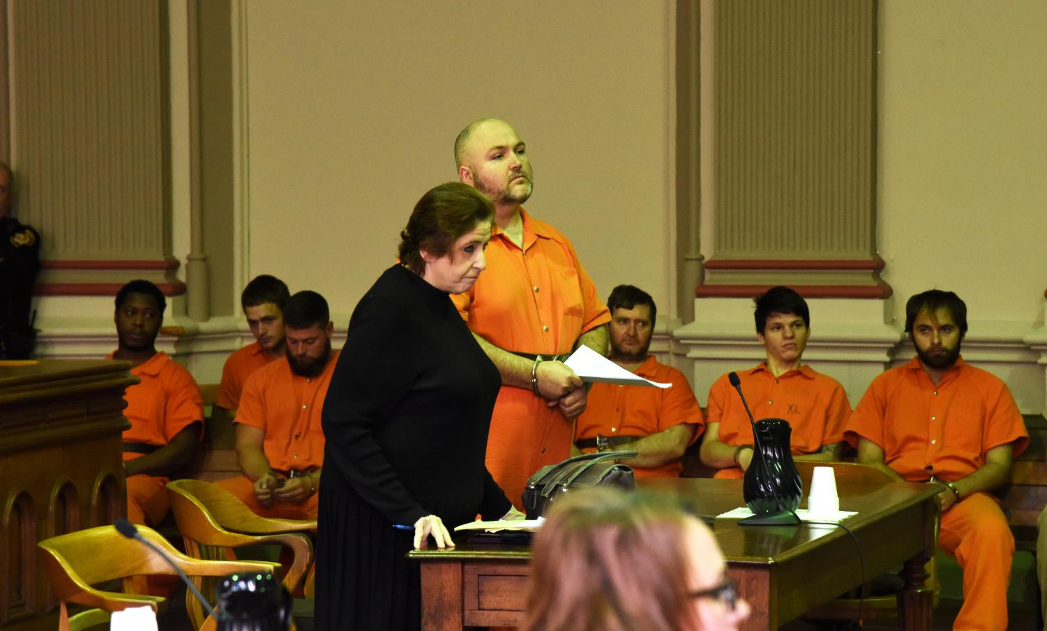 Terry Bocook appears in court before Judge Mark Fleegle with his attorney Elizabeth Gaba.