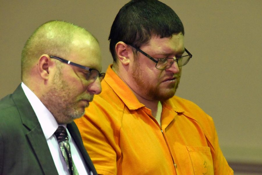 Derek Shaffer becomes emotional during his sentencing in the Muskingum County Court of Common Pleas.