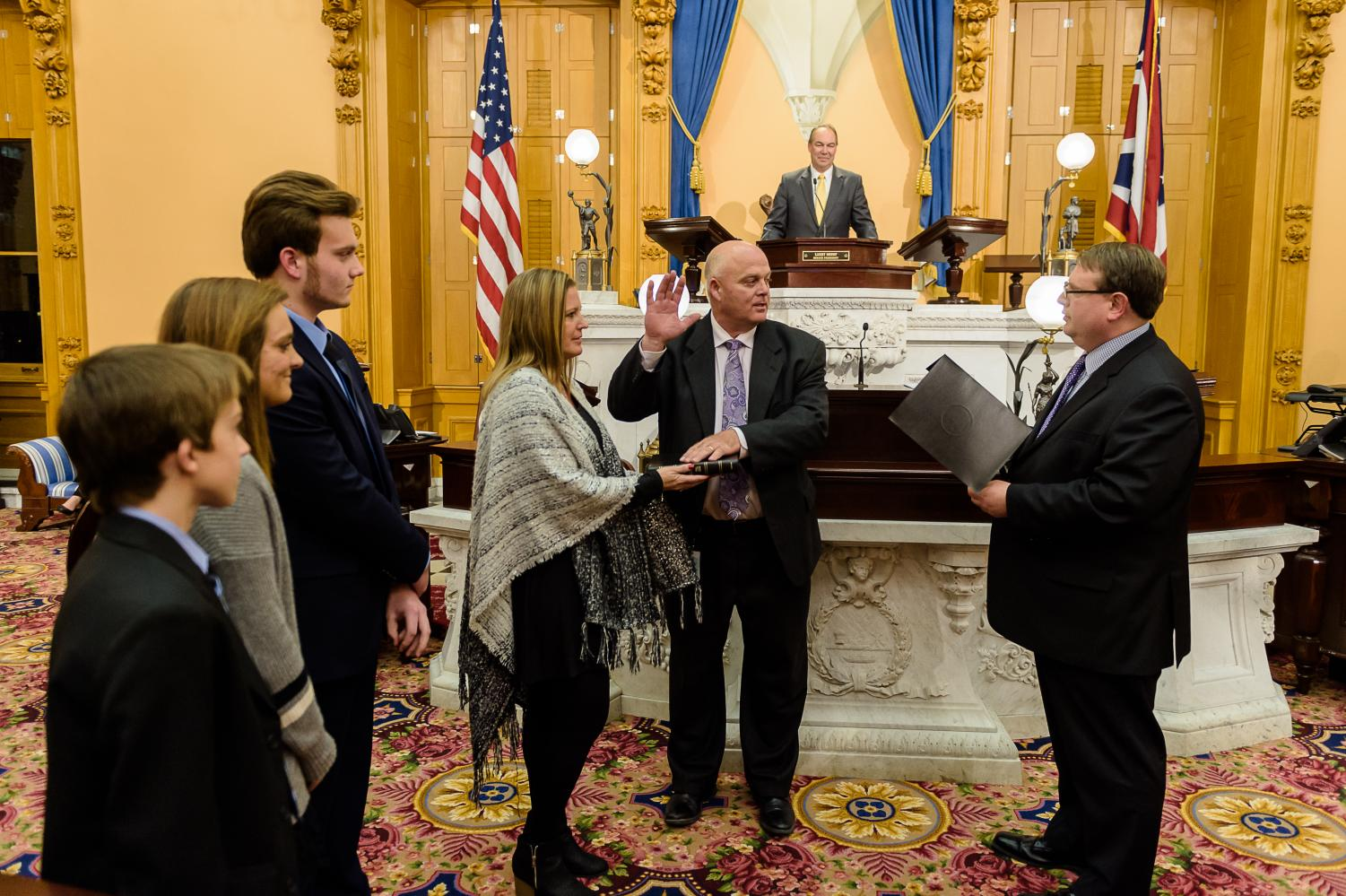 Brian Hill, joined by his family, is sworn into Ohio's 20th District Senate Seat.