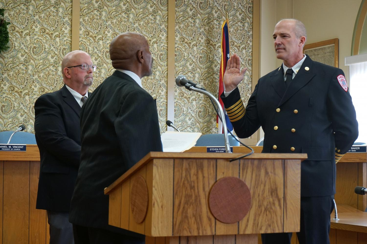Jeff Bell is sworn in as Zanesville Fire Chief Friday, Dec. 7.