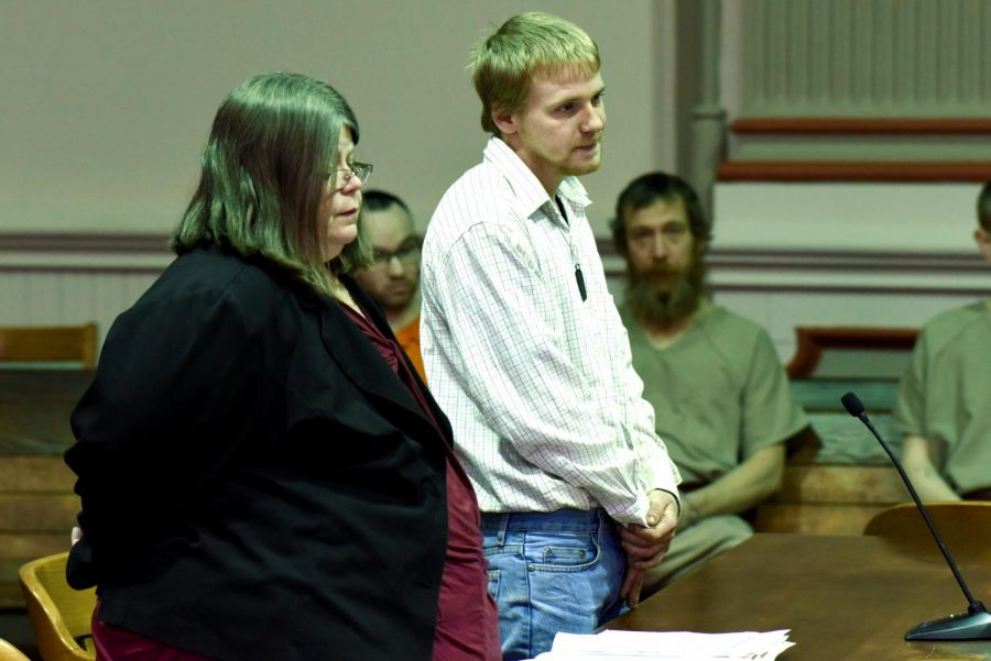 Kyler+Mangold%2C+21%2C+pleads+guilty+to+one+count+of+unlawful+sexual+contact+with+a+minor+before+Judge+Kelly+Cottrill+Friday.+