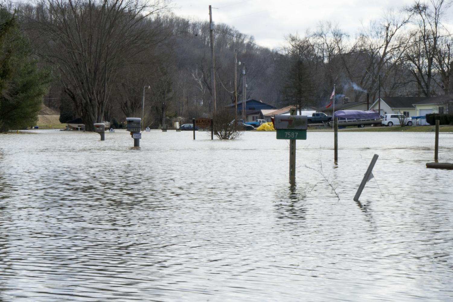 A portion of Pioneer Drive is under water in Blue Rock Township.