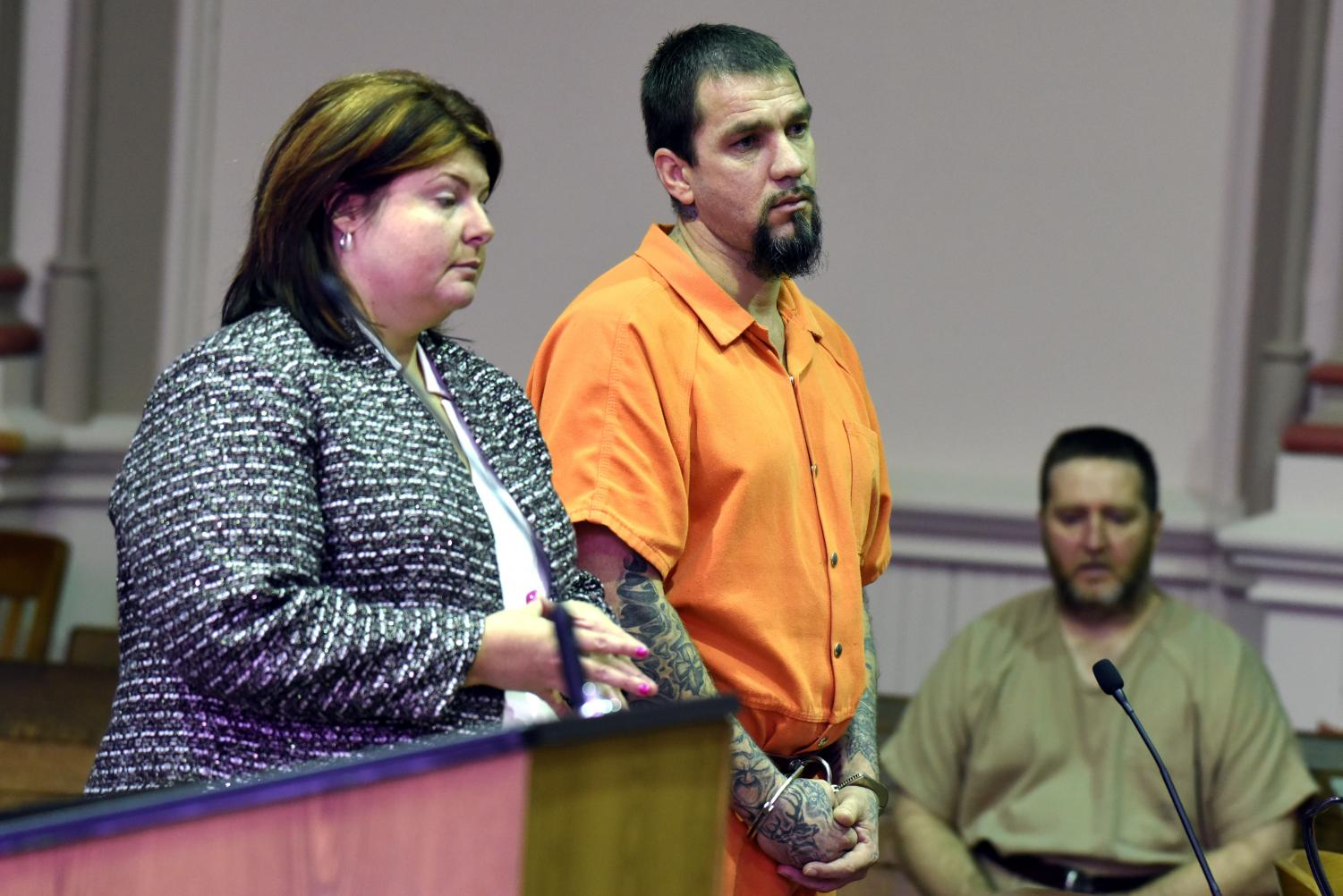Timothy Huey (right) stands before Judge Kelly Cottrill, with his defense attorney Kendra Kinney (left), during his sentencing hearing Friday morning.