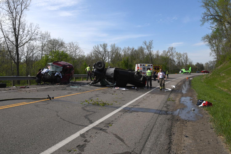 A two car crash left three people dead on US 22 near Fultonham.