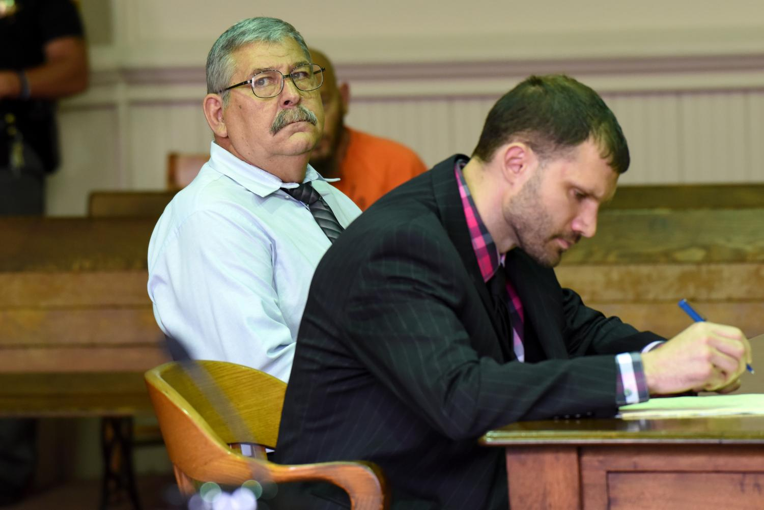 Gary McNerney turns his attention to Assistant Prosecuting Attorney Ron Welch during his sentencing hearing on May 29.