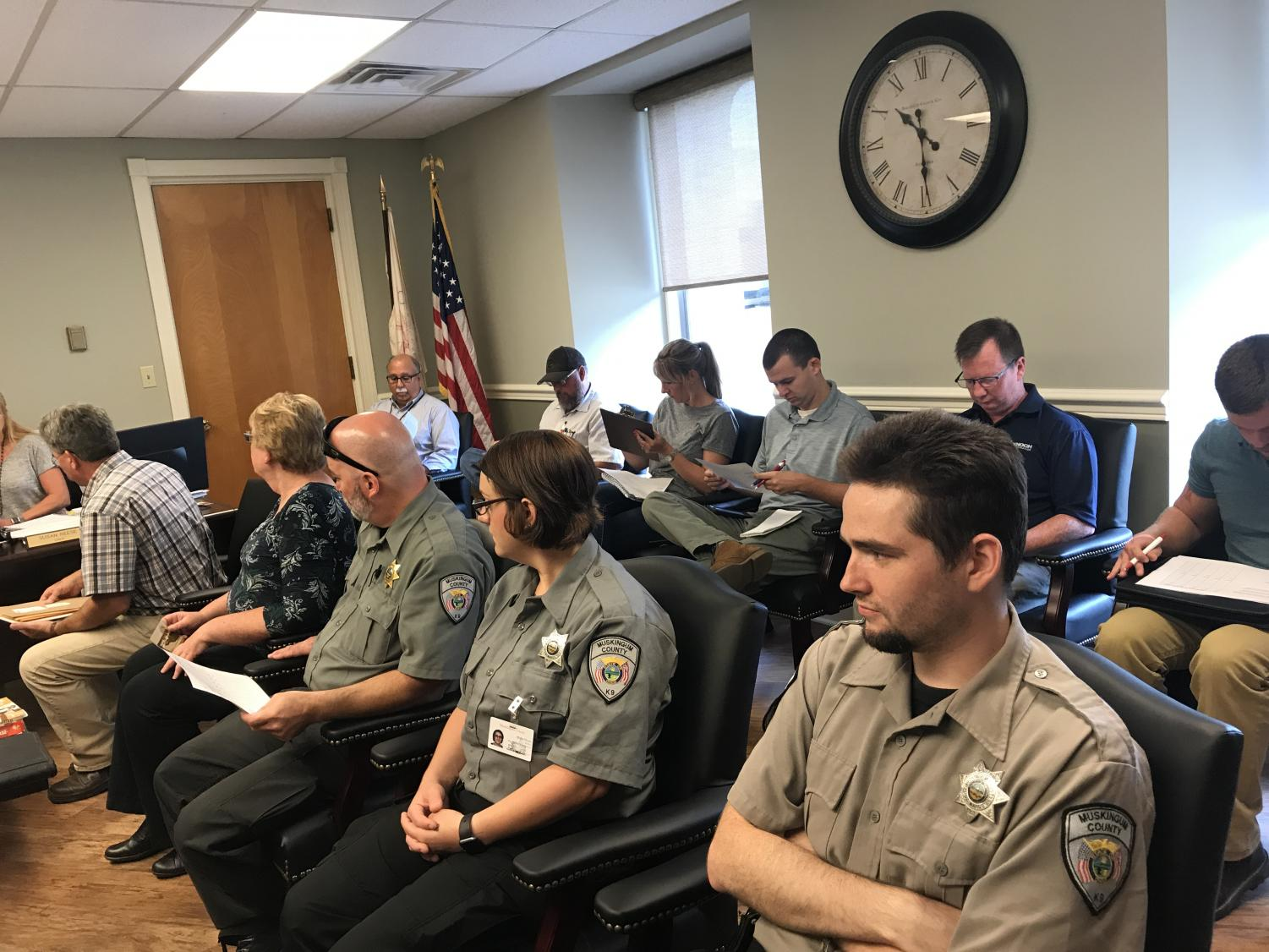 Thursday morning, the Muskingum County Commissioners' meeting drew a crowd of people awaiting to see who would be awarded the bid to complete the new dog warden facility construction.