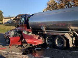 Man killed in crash involving fuel truck on U.S. 40 early Thursday morning