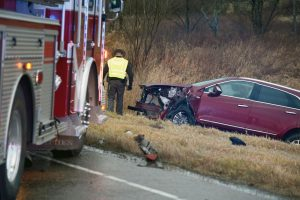 Woman dies following head-on crash that injured five on Northpointe Monday