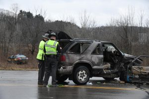 Sheriff's deputy, two others transported following crash Saturday along US-40