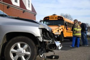 Student taken to hospital after bus crash