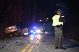 Rollover sends woman to hospital