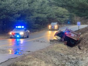 Three transported following rollover crash Tuesday morning in Muskingum Township