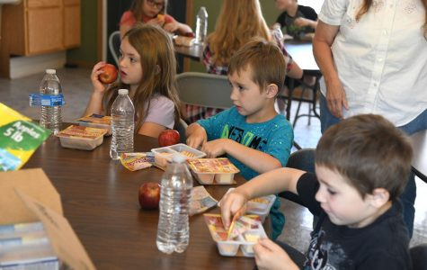 Kids dig into their Lunchables at the Eagle View Apartments office back in 2019.