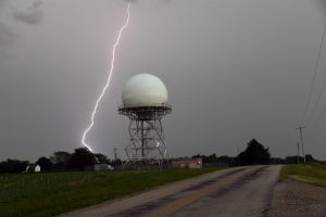 A Joint Surveillance System radar tower in London, Ohio which tracks aerial objects.