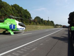 MedFlight lands on I-70 to receive patient. Photo submitted.